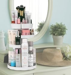 """Promising review: """"It rotates smoothly and silently, and it holds more than my other cosmetic storage units. All my products are within view and they are all easily accessible in an organized manner. This eliminates my frustration when I didn't remember where I put something that I needed, and therefore saves my time, especially when I am in my usual rush to get ready and not be late."""" —Karen🦋Get it from Amazon for $30.99."""