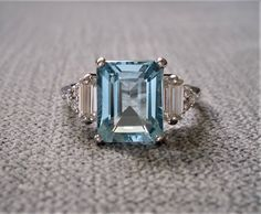 Emerald Cut Diamond Engagement Ring, Halo Diamond Engagement Ring, Emerald Cut Aquamarine Ring, Aquamarine Jewelry, Ring Set, Ring Verlobung, Pretty Rings, Beautiful Rings, Aquamarin Ring