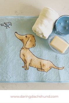Long Haired Tan Dachshund Bath Mat at www.daringdachshund.com