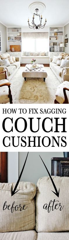 Prop up couch cushions and make an old couch look brand new with this easy fix!