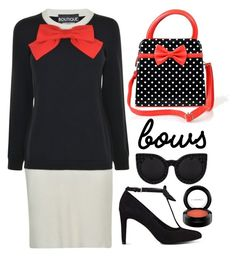 """BOWS"" by hajni0103 ❤ liked on Polyvore featuring Boutique Moschino, Delalle, Nine West, MAC Cosmetics and bows"