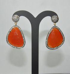 Cornaline Gemstone Studded Earrings Made In .925 Sterling Silver