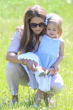 Princess Leonore of Sweden and her mother Princess Madeleine of Sweden are seen visiting the stables on June 3, 2016 in Gotland, Sweden.