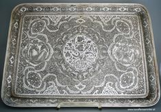 Remarkable Persian Silver Tray by KAREGARAN - poems by عمر خیام