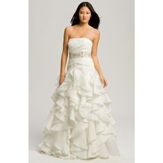 Faviana 'Chelsea' Strapless Satin-Faced Organza Gown ($750) ❤ liked on Polyvore