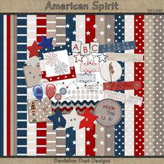 Digital Scrapbooking American Spirit Kit #DandelionDustDesigns #DigitalScrapbooking