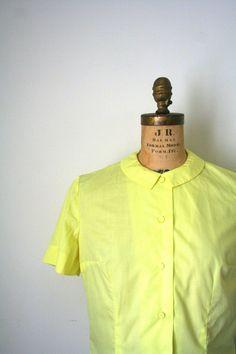 vintage blouse / shirt 1950's  citrus LEMON YELLOW by capricorne, $44.00