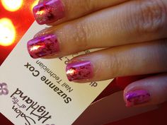 Cnd Shellac Valentines Nails by Suzanne Cox. Pink, pigments, and foils, oh my!