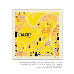 Kinnick Stadium Iowa City Campus Art Map Print University Of Johnson County By James Steeno