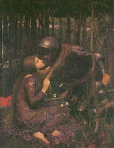 La Belle Dame Sans Merci (poem by John Keats) - Waterhouse, John William - Pre-Raphaelites - Oil on canvas - Literature - TerminArtors