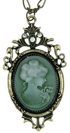 Vintage Style Victorian Lady Green Cameo Necklace