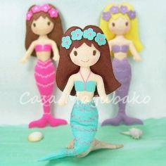 Felt Mermaid Doll Pattern DIY Doll Tutorial PDF by CasaMagubako