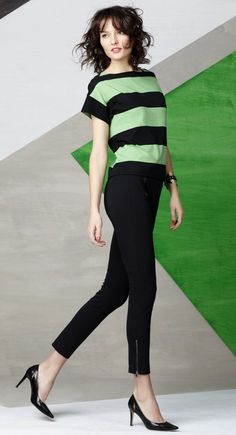 I'm totally loving the mod feel of the 60's larger tops with tighter legging-like pants.