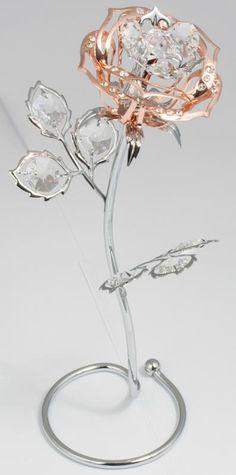 Figur Rose mit Kristall Glas rosegoldfarben MADE WITH SWAROVSKI ELEMENTS - premium-kristall