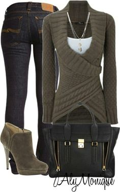 Love the wrap sweater, not sure it would look great n me. This outfit rocks! Meets everyone of my style requirements. Cute, sexy butt not too sexy, no ridiculous colors patterns or designs, stiletto heel but NO pointed toe! Cute Winter Outfits, Fall Outfits, Casual Outfits, Casual Wear, Summer Outfits, Green Outfits, Classy Outfits, Mode Outfits, Fashion Outfits