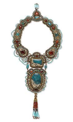 Mayan Princess - Deborah Glasser (Fire Mountain's Silver Medal Grand Prize Winner) -- Bib-Style Necklace with Gemstone Cabochons, Seed Beads and Czech Glass Druk Beads