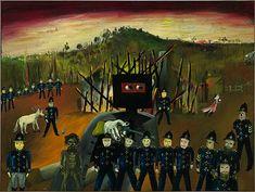 Ned Kelly, Glenrowan… by Sydney Nolan. Australian Painters, Australian Artists, Sidney Nolan, Aboriginal Dot Painting, Postmodern Art, Ned Kelly, Colonial Art, Classic Artwork, Desert Art