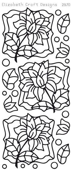 Elizabeth Craft Designs Peel-Off Sticker -2570B Flower Labels 2 Stickers
