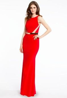Jersey Dress with Mesh Side Cut Outs   Camillelavie.com #red #dresses #camillelavie #fashion