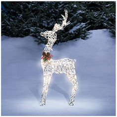 Amazon.com : Pre Lit Lighted White Vine Reindeer Christmas Outdoor Yard  Decor 36