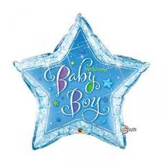 """Ce ballon holographique en aluminium est en forme d'étoile, de couleur bleue. L'inscription """" Welcome Baby Boy"""" se trouve au centre du ballon, écrit en lettres multicolores. Il est adapté au gonflage à l'air ou à l'hélium. Il est livré non gonflé.  Caract"""