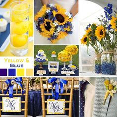 Navy & yellow with sunflowers. Perfect.