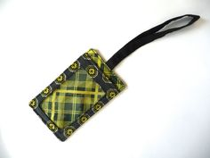Fabric Luggage Tag - Gray Abstract Print with Lime Green Plaid