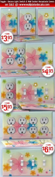 DIY Do It Yourself Home Decor - Easy to apply wall plate wraps | The Magic of July Cute little flowers wallplate skin stickers for single, double, triple and quadruple Toggle and Decora Light Switches, Wall Socket Duplex Receptacles, and blank decals without inside cuts for special outlets | On SALE now only $3.95 - $6.95