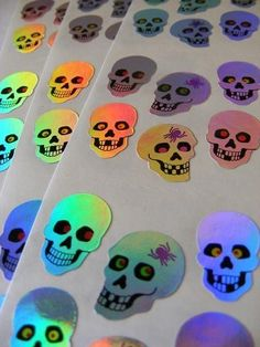 Rare Vintage Iridescent Skull Stickers by NeedfulThingsSupply
