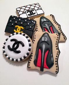 High Heel Cookies, Shoe Cookies, Logo Cookies, Fancy Cookies, Royal Icing Cookies, Chanel Cookies, Chanel Cake, Chanel Birthday Party, Birthday Parties