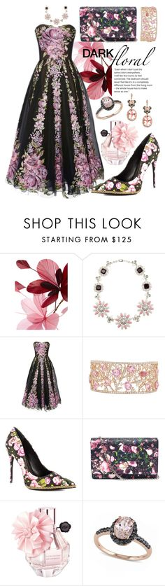 """Pink Florals + Black"" by alyssawui ❤ liked on Polyvore featuring Valentino, Miu Miu, Marchesa, Schutz, Givenchy, Allurez and Effy Jewelry"
