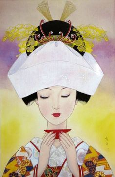 """""""Bride"""", 1968, by Koji Fukiya ~ One of artists who made their name in the pages of girls' magazines was Shibata-born painter, illustrator and poet Koji Fukiya (蕗谷 虹児, 1898-1979), known for romantic images of fashionable young beauties. This painting of a bride in traditional wedding kimono was featured on a popular 50-yen stamp."""