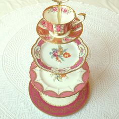 Gorgeous tea and cupcake stand for Marie Antoinette inspired party.