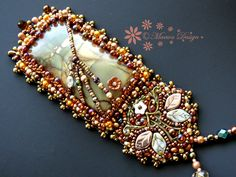Bead embroidered Pendant necklace Early Spring Blooms picasso jasper Beadwork Seed beaded Jewelry ooak by MaewaDesign on Etsy