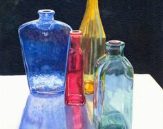 Glass Bottles Art Watercolor Painting Print by Cathy Hillegas, watercolor print, red blue yellow teal black, still life watercolor Watercolor Print, Watercolor Paintings, Watercolours, Colored Glass Bottles, Contour Drawing, Guache, Still Life Art, Bottle Art, Art Plastique