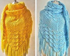 The style and elegance of a Shawl beautiful colors in yarn crochet. see how to do how this pattern is easy - Crochet patterns free
