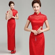 Floral lace long traditional Chinese cheongsam wedding dress | Modern Qipao