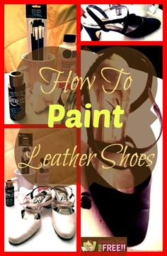 How To Paint Leather Shoes. A couple of weeks ago my daughter came and took a pair of my mom?s shoes to ? I was pretty skeptical of the entire idea, but, she did a great job! Painting Leather Shoes, Shoe Makeover, Shoe Refashion, Refashioning, Shoe Art, Art Shoes, Painted Shoes, Painted Bags, Painted Clothes