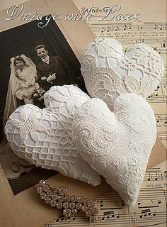 3 Lace Hearts and a Wedding Picture
