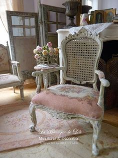 Shabby French armchair early 18 th century Louis by AtelierdeLea, mini