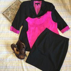 Escade Womens Work Suit Black Lined Button Up Blazer-Skirt Fuchsia Blouse-Sz Reg #PINK #Blazer