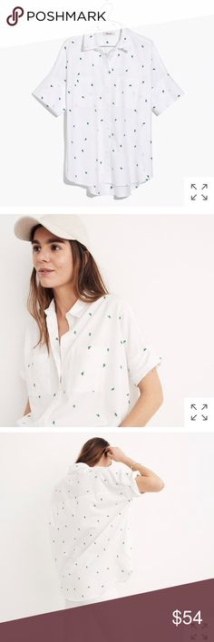 MADEWELL courier cactus top blouse drapey Button PRODUCT DETAILS NEW WITHOUT TAGS We remade our perfectly oversized, slightly boxy shirt in white cotton poplin embroidered with our very favorite cacti (for real, Madewell HQ is filled with the prickly guys). This beloved short-sleeve button-down is effortlessly cool—and so very versatile.  Slightly oversized fit. Cotton. Machine wash. Import. Item G2891. Madewell Tops Blouses
