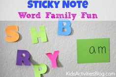 Learning to build a word family is an important pre-reading activity. Turn learning into a fun game for kids by letting your child use some colorful sticky notes!