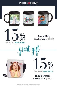 *Valid until 31 July 2021– Use code JULG21 #Uniquegifts #specialgifts #personalisedgifts #Photo2Printza #giftIdeas #perfectgift #keepsake #Gauteng #Capetown #Durban #family #memories Mugged Off, Unique Gifts, Great Gifts, Photo Book, Special Gifts, Personalized Gifts, Coding, Shoulder Bag, Family Memories