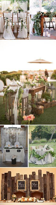 Ideas originales para la decoración de la mesa de los novios en las bodas. Como decorar la mesa donde se sientan los novios.