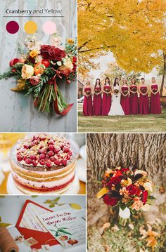 2015 autumn cranberry and yellow wedding color inspiration ideas and bridesmaid dresses