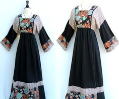 Vintage 70s Young Edwardian Floral Prairie Dress with Angel Sleeves