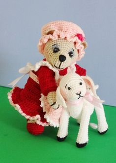 PDF Crochet Pattern, Miniature Amigurumi Dressed Bear and Crocheted Lamb Doll