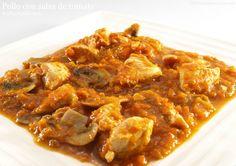 Pollo con salsa de tomate y champiñones - MisThermorecetas.com