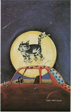 Cat Pawprints on Washed Car by Gary Patterson Postcard